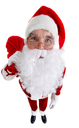 A distorted image of Santa standing with a sack isolated on white