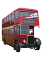 Vintage red double decker bus, isolated on white with clipping path.