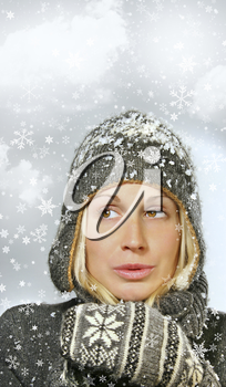 Royalty Free Photo of a Young Woman in the Snow