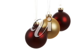 Three hanging christmas tree ornaments (isolated white)