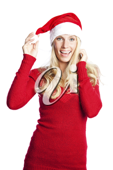 A portrait of a beautiful caucasian christmas santa girl