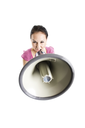 An isolated shot of a businesswoman shouting through a megaphone