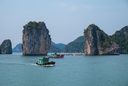 Royalty Free Photo of Boats and Rocks in Halong Bay, Vietnam, Southeast Asia