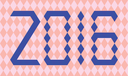 Blue numbers of year 2016 made from triangles on abstract background