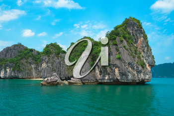 Scenic view of sea and rock islands, Halong Bay, Vietnam, Southeast Asia