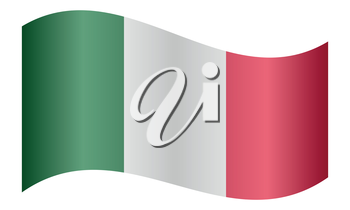 Flag of Italy waving on white background