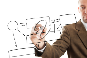 isolated businessman writing diagram, focus point on nearest part of pen