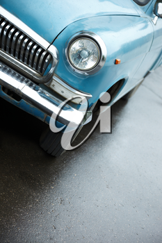 Volga , russian 1960s style vehicle in blue color, selective focus