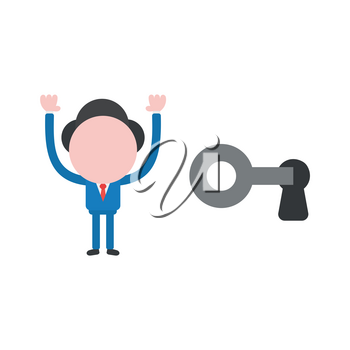 Vector cartoon illustration concept of faceless businessman mascot character unlock with key symbol icon and raising arms up.