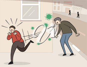 Hand drawn vector illustration of Wuhan corona virus, covid-19. Man sneezing or coughing in the street and other man scared and running away.