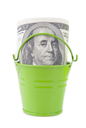 Royalty Free Clipart Image of a Money in a Bucket