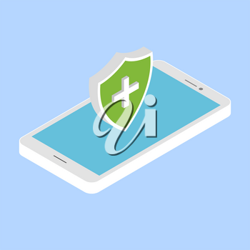Protect your phone from viruses. Vector illustration .
