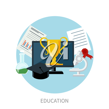 Concept for online education, e learning, and distance professional training with pointers on globe and education icons in flat design
