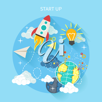 Business research start up idea template. Start up rocket idea. New business project start up, launching new product or service in flat design