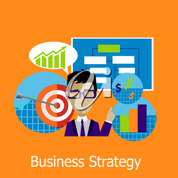 Business strategy concept design style. Business plan, strategy concept, strategy planning, business success, marketing management, chart and infographic plan illustration