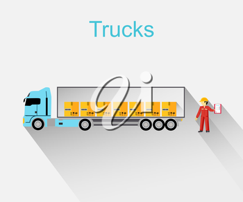 Trucks lorry icon design style flat.  Car and transportation, van and delivery truck, semi truck, truck driver, lorry and delivery, transport cargo, business logistic illustration