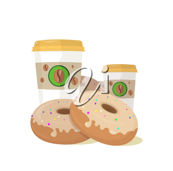 Sweet donuts set design flat food. Doughnut, donuts coffee, donut isolated, coffee and cookies, cake bakery, dessert menu, snack pastry, tasty illustration. Donuts shop. Donut icon. Donuts with coffee