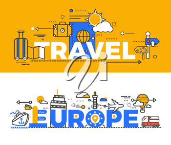 Travel europe design flat concept. Travel and europe, europe tour, tourism and building, journey and trip europe, adventure and airplane, vacation travel europe, travel europe design illustration