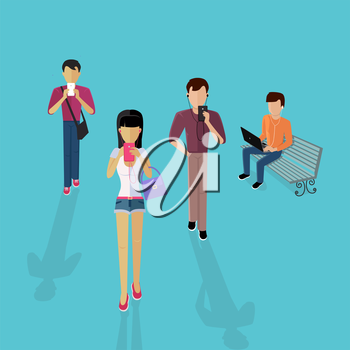 Group of people with gadgets. Men and women use their mobile phone device laptop, listening to music. Guy sitting on the bench with a laptop. Pretty girl goes with headphones. Vector illustration