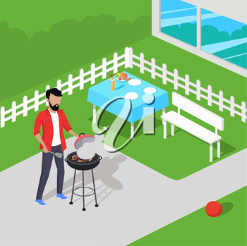 Father preparing barbecue design flat. Dad prepares a barbecue. Vector illustration