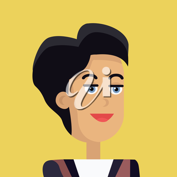 Businesswoman avatar icon isolated on yellow background. Woman with black hair. Smiling young girl personage. Flat design vector illustration