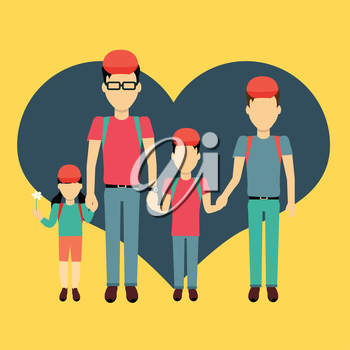 Happy family homosexual concept banner design flat style. Young family gay man with a son and daughter on a travel. Father with child happiness lifestyle, vector illustration