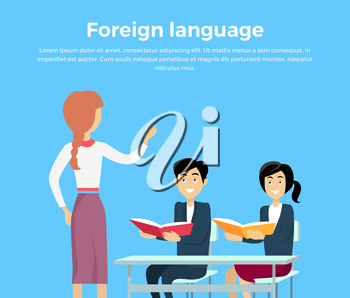Learning a foreign language conceptual banner design flat style. Teacher woman teaches children. Children listen attentively while sitting at their desks with book in hand. Vector illustration