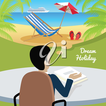 Dream holiday. Man sitting on chair at the table dreaming about good rest. Back view. Boy at work. Endless work seven days a week. Part of series of work at the office. Vector illustration