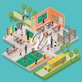 Isometric school interior with 3d indoors objects and people figures. Teacher near blackboard in classroom. Learning process in classroom, gym class, pupils in the library, school bus.
