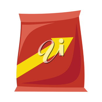 Plastic red bag snack with arrow in flat. Potato chips plastic packaging. Bag snack icon. Snack icon. Retail store element. Simple drawing. Isolated vector illustration on white background.