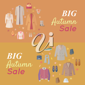 Big autumn sales vector concept. Flat design. Warm womens and mens clothes, shoes and accessories for cold season on wite background with fallen leaves and sticker with text For store discounts ad des