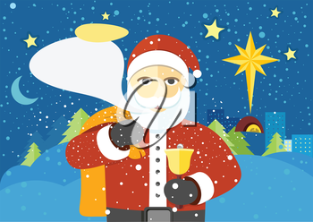Happy Santa Claus with speech bubble for your text. Santa Claus with a bag of presents and a bell wishes Merry Christmas in urban city. Winter landscape background. Star of Bethlehem in sky. Vector
