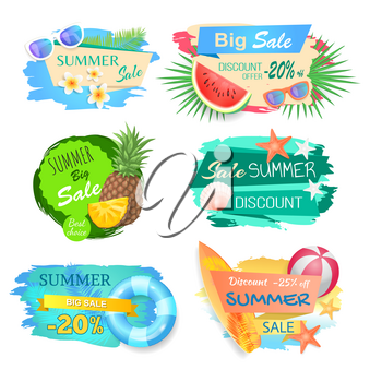 Big sale and summertime offer banners set vector. Seasonal reductions and price on lower cost. Pineapple and watermelon fruits, ball and saving ring