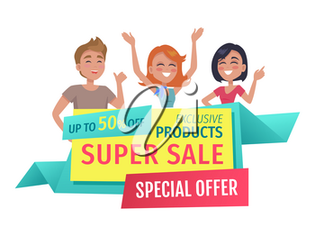 Super sale banner for shop sellout isolated . Flat vector exclusive products and special offer promotion phases and customers hands up and waving.