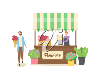 Seller with flowers in pots vector, male selling flora growing in small containers, shop with decor and gifts, romantic customer holding bouquet of roses