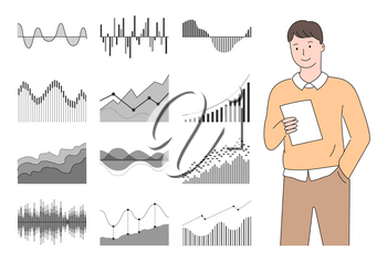 Businessman reading papers and reports vector, infographics male with business documents infographics, analytics and stats flat style visualization