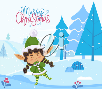 Merry christmas caption, greeting postcard. Elf stand alone in forest among fir trees. Fairy character in green traditional costume. Little girl greet people with holiday. Vector illustration in flat