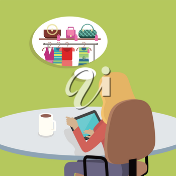 Dream holiday concept. Woman working with tablet computer in office and dreaming about shopping. Isolated object in flat design on white background. Vector illustration