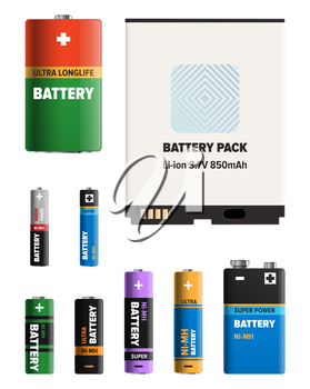 Powerful batteries for electronic devices with various power capacity isolated on white background. Energy replenishment appliances vector illustrations set. Galvanic device for power charge.