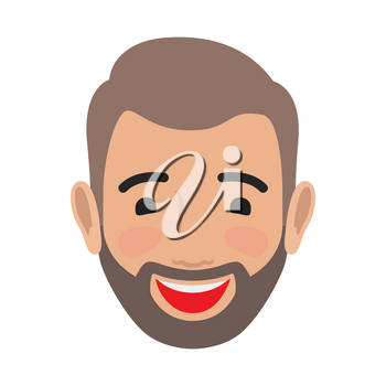 Emotion avatar man happy successful face. Emotional avatar of smiling male with open mouth. Expression of laughing face, character in good mood enjoying life vector illustration in flat style design