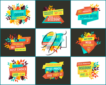 Sale with exclusive offer and best choice posters. Seasonal price reduction for autumn special off banners, fall leaves vector illustrations set.