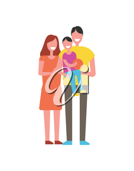 Happy family with one child vector icon. Smiling people, father carrying son with ball in hands, standing together, hug each other, cartoon banner