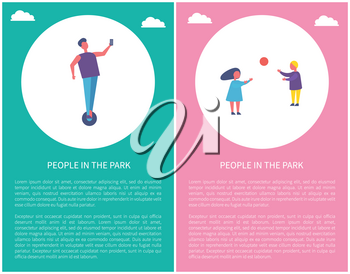 People in park poster two children playing with ball. Boy and girl spend time outdoors, vector sport activities. Man ride a segway and make selfie vector