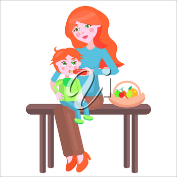 Young redhead mother sits on bench beside fruit basket and feeds baby boy with bottle on her lap on white background. Illustration of motherhood. Cartoon family. Vector illustration for Mother day.