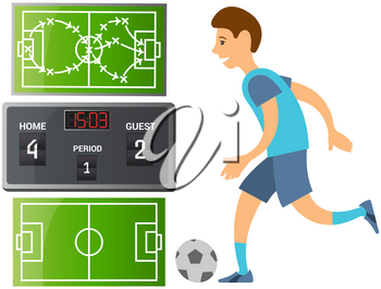 Running soccer player. Football cartoon player in blue jersey running with ball on playing field isolated man sport player sportsman in sports uniform. Guy plays football, kicks ball and scores goal