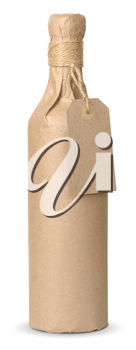 bottle of wine wrapped in kraft paper with a price tag isolated with clipping paths