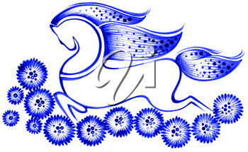 Royalty Free Clipart Image of a Decorative Horse
