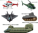 Illustration of the fighting jetplane, choppers, cannon and tank on a white background