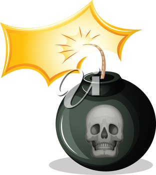 Illustration of a rounded bomb on a white background