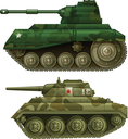 Illustration of the two armoured tanks on a white background